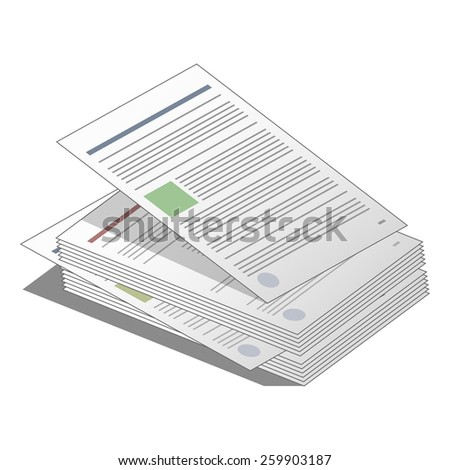 Stack Pile Documents Agreements Business Icon Stock Vector