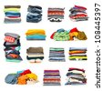 stacks of clothing collection isolated on white - stock photo