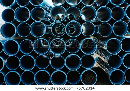 Stacks of large, plastic water pipe at an irrigation project near Hermiston Oregon