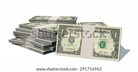 Stacks of one dollars Bills isolated on white background