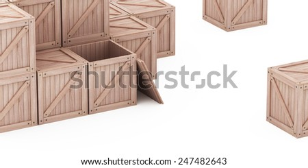 Stacks of wooden boxes