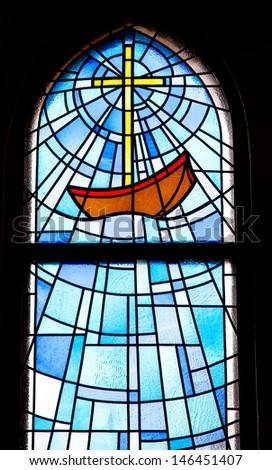 Church Stained Glass Gothic Window Vector Stock Vector
