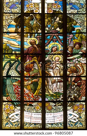 stained glass window in old church