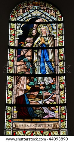 Stained glass window in the Cathedral of Luxembourg depicting the visitation of Mary to Elizabeth. Made in the ateliers Marechal de Metz in 1848-1860.
