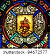 Stained glass window with Lamb of God symbol - stock photo
