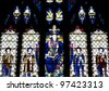 Stained glass windows, Ely cathedral, Cambridge, England - stock photo