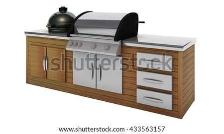 stainless steel barbecue with grill 3d rendering
