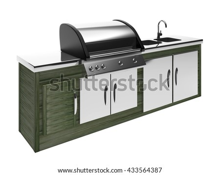 stainless steel barbecue with metal table 3d rendering