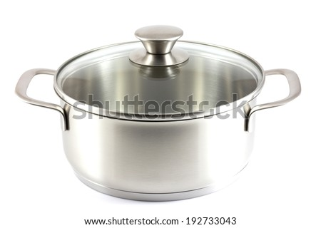 Stainless steel pot isolate in white background