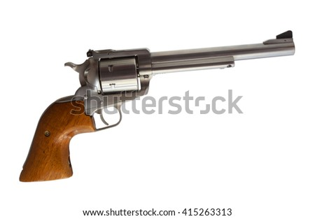 Stainless steel revolver chambered for forty four magnum on white