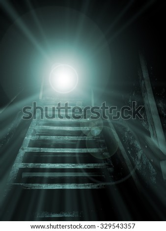 Stairs leading to a light source