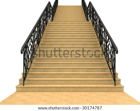Stairs with railings leading up. Isolated on white