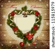 Stamp-frame with wreath of pine branches on snowy wooden background - stock photo