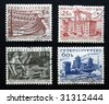 Stamps of the Czechoslovakia celebrating the second five-year plan of the country (1956-1960) - stock photo