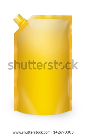 Stand-up spout pouch with cap isolated. Yellow