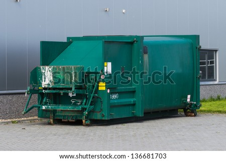 standalone container for compressing waste from factory