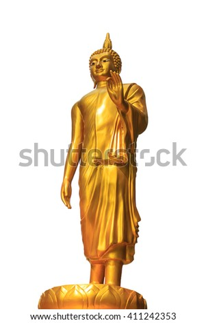 standing buddha image in the temple on white background