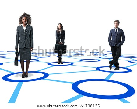 standing businesspeople on 3d virtual connection