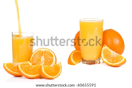 standing glass with juice and orange