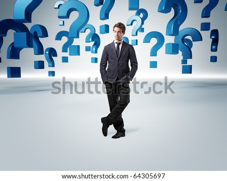 standing man and 3d question mark background