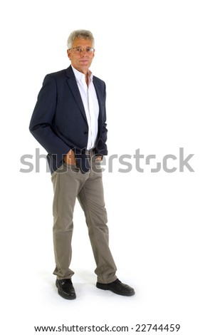 Standing man isolated over white