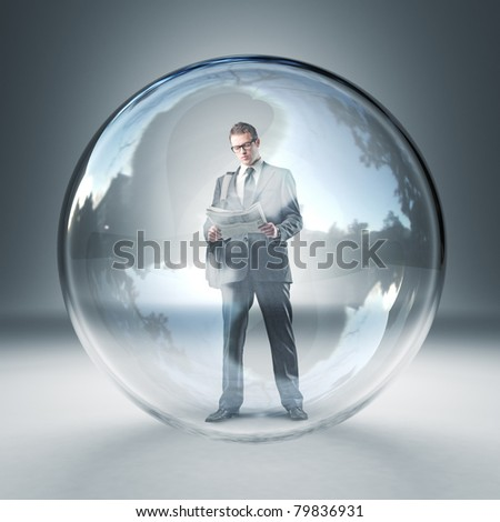 standing man reading newspaper in 3d glass sphere