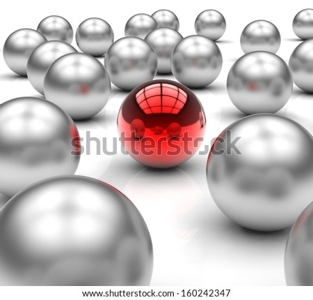 Standing Out Metallic Balls Shows Leadership And Vision