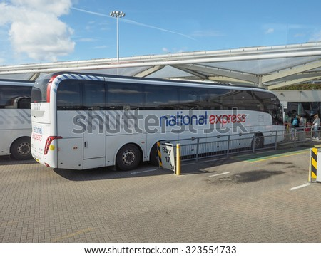 STANSTED, UK - SEPTEMBER 24, 2015: National Express coach at London Stansted airport coach station