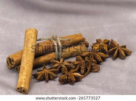 Star anise with cinnamon sticks on the gray tablecloths