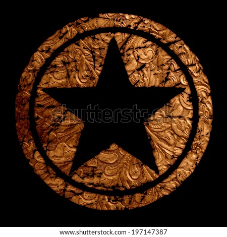 Star logo with antique vintage grunge leather in rustic brown and black background.
