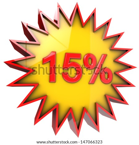 star with fifteen percent discount 3d isolated with clipping path and alpha channel