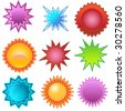 Starburst Stickers - stock vector