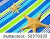 Starfish on Beach towel - stock photo