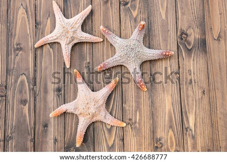 Starfish on brown wooden background for textures