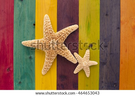 Starfish Stained Wood Background