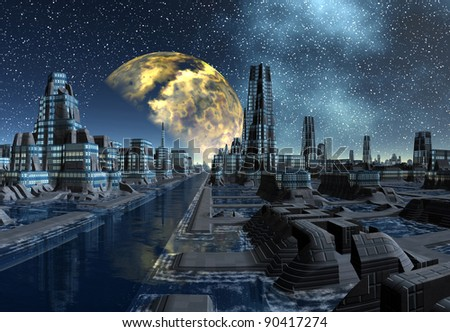 Starry Night Over An Alien City, alien cityscape at night - fantasy planet