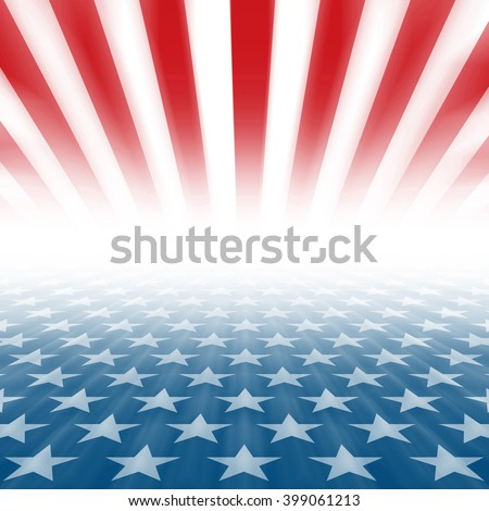Stars and Stripes perspective background disappearing in a horizontal vanishing point