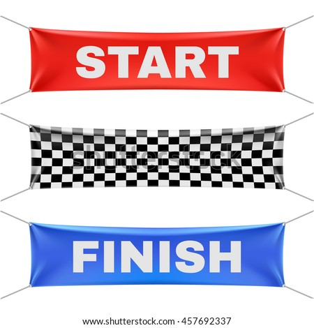 Starting, finishing, and checkered banners
