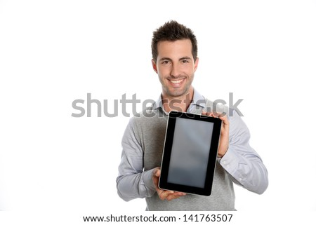 Startup businessman showing tablet screen