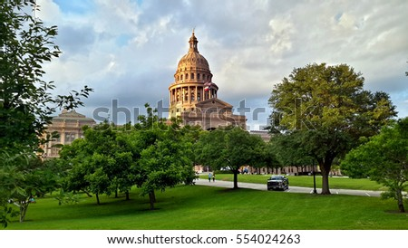 State of Texas Capitol building, built in 1888 on the north part of Congress Avenue, downtown Austin, Texas.