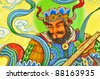 Statue Of Guan Yu deva [God of honor] paint fine art on door temple - stock photo