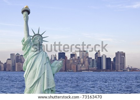Statue of liberty with new york skyline in background