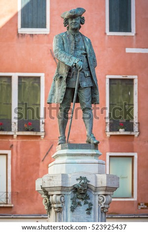 Statue of the great Italian playwright and librettist Carlo Goldoni (1707 - 1793). On public display for hundreds of years in a piazza in his birthplace of Venice, Italy.