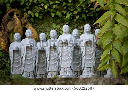 Statues at a temple in Kamakura, Japan