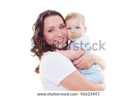 stdio portrait of smiley mother with baby over white