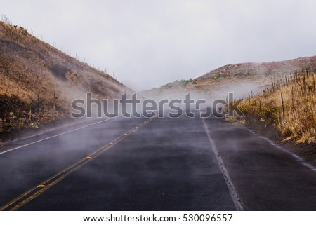 Steam or fog builds up on the Mauna Kea Access Road