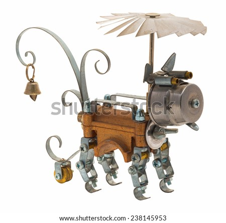 Steampunk robot. Two sides. Cyberpunk style. Chrome and bronze parts. Isolated on white.