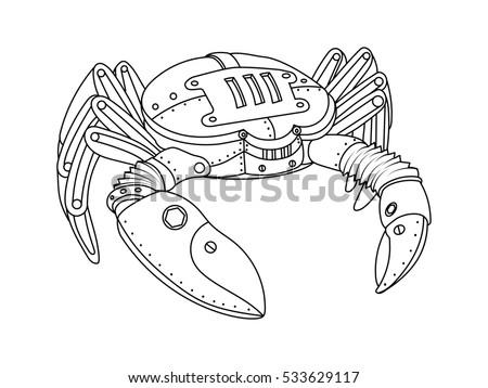 Steampunk style crab mechanical animal coloring stock Steampunk animals coloring book