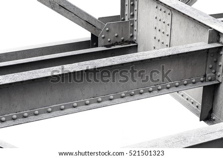 Steel beams against white background