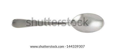 Steel metal table knife spoon over white background